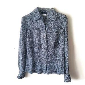 Alfani blouse silk blue sz 8 Medium